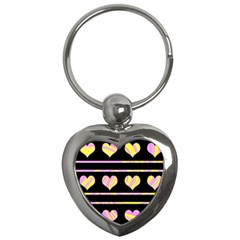 Pink and yellow harts pattern Key Chains (Heart)