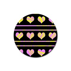 Pink and yellow harts pattern Rubber Coaster (Round)
