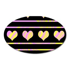 Pink and yellow harts pattern Oval Magnet