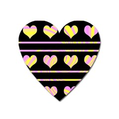 Pink and yellow harts pattern Heart Magnet