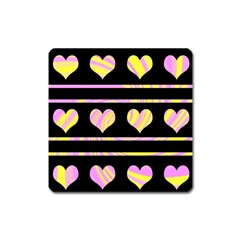 Pink and yellow harts pattern Square Magnet