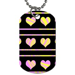 Pink and yellow harts pattern Dog Tag (One Side)