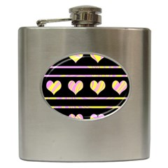Pink and yellow harts pattern Hip Flask (6 oz)