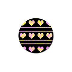 Pink and yellow harts pattern Golf Ball Marker