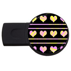 Pink and yellow harts pattern USB Flash Drive Round (1 GB)