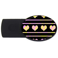 Pink and yellow harts pattern USB Flash Drive Oval (1 GB)