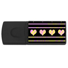 Pink and yellow harts pattern USB Flash Drive Rectangular (1 GB)