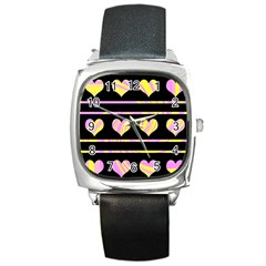 Pink and yellow harts pattern Square Metal Watch