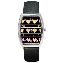Pink and yellow harts pattern Barrel Style Metal Watch