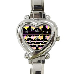 Pink and yellow harts pattern Heart Italian Charm Watch