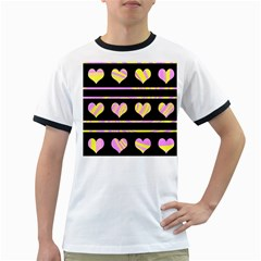 Pink and yellow harts pattern Ringer T-Shirts
