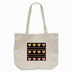 Pink and yellow harts pattern Tote Bag (Cream)