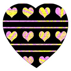 Pink and yellow harts pattern Jigsaw Puzzle (Heart)