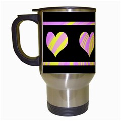 Pink and yellow harts pattern Travel Mugs (White)
