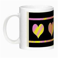 Pink and yellow harts pattern Night Luminous Mugs