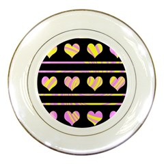 Pink and yellow harts pattern Porcelain Plates