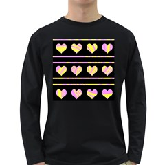 Pink and yellow harts pattern Long Sleeve Dark T-Shirts