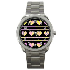 Pink and yellow harts pattern Sport Metal Watch