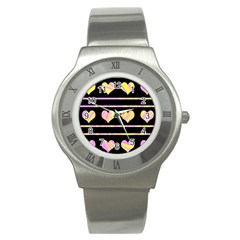 Pink and yellow harts pattern Stainless Steel Watch