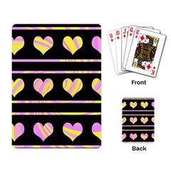Pink and yellow harts pattern Playing Card