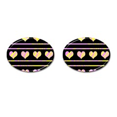 Pink and yellow harts pattern Cufflinks (Oval)
