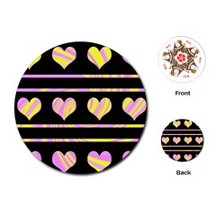 Pink and yellow harts pattern Playing Cards (Round)