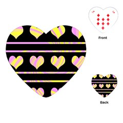 Pink and yellow harts pattern Playing Cards (Heart)