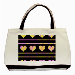 Pink and yellow harts pattern Basic Tote Bag