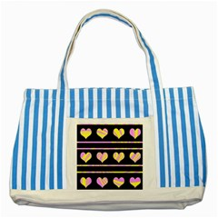 Pink and yellow harts pattern Striped Blue Tote Bag