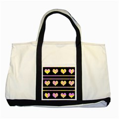 Pink and yellow harts pattern Two Tone Tote Bag
