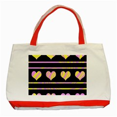 Pink and yellow harts pattern Classic Tote Bag (Red)