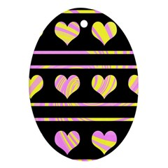 Pink and yellow harts pattern Oval Ornament (Two Sides)