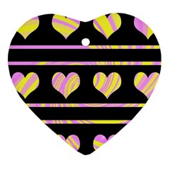 Pink and yellow harts pattern Heart Ornament (2 Sides)