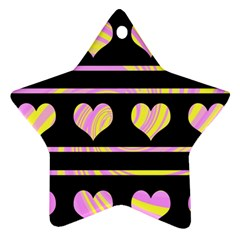Pink and yellow harts pattern Star Ornament (Two Sides)