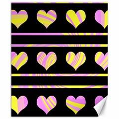 Pink and yellow harts pattern Canvas 8  x 10