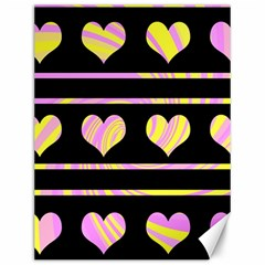 Pink and yellow harts pattern Canvas 12  x 16