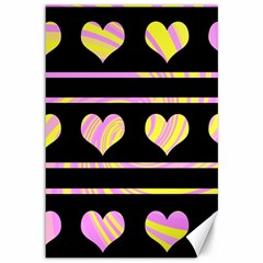 Pink and yellow harts pattern Canvas 12  x 18