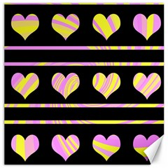 Pink and yellow harts pattern Canvas 20  x 20