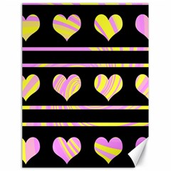 Pink and yellow harts pattern Canvas 18  x 24