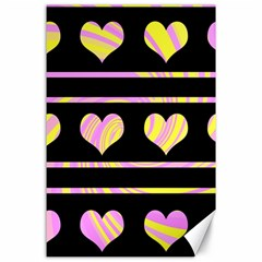Pink and yellow harts pattern Canvas 24  x 36