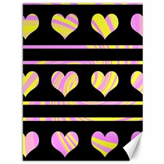 Pink and yellow harts pattern Canvas 36  x 48