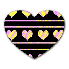 Pink and yellow harts pattern Heart Mousepads