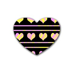 Pink and yellow harts pattern Rubber Coaster (Heart)