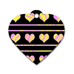 Pink and yellow harts pattern Dog Tag Heart (Two Sides)