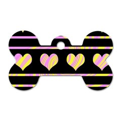 Pink and yellow harts pattern Dog Tag Bone (One Side)