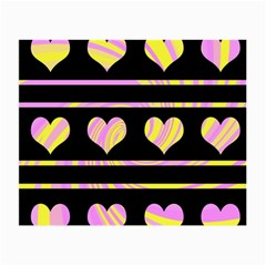 Pink and yellow harts pattern Small Glasses Cloth (2-Side)
