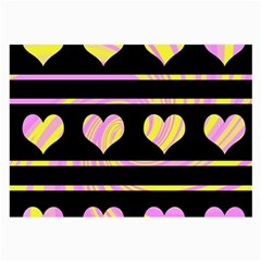 Pink and yellow harts pattern Large Glasses Cloth (2-Side)