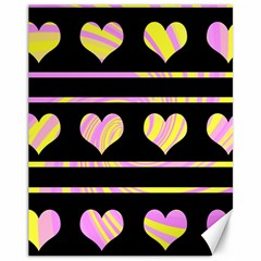 Pink and yellow harts pattern Canvas 11  x 14