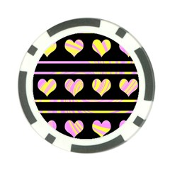 Pink and yellow harts pattern Poker Chip Card Guards