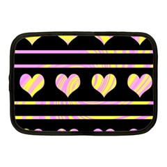Pink and yellow harts pattern Netbook Case (Medium)